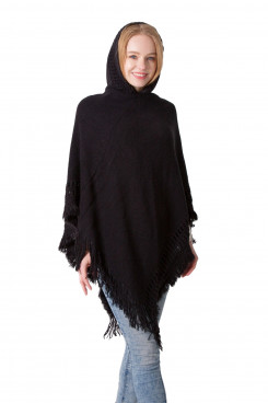Women's Crochet Poncho Knitting Hooded Cape with Fringed Hem Black winter Free Shipping