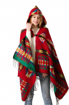 2019 New Style Women's Hooded Cape With Tassels Geometric pattern Poncho Free Shipping