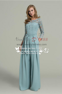 Women's Chiffon Prom Jumpsuit with lace Long Sleeves so-153