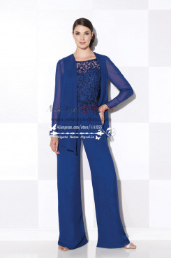Women's delicate royal blue chiffon wedding party dress with hand beading mother of the bride pant suits mps-180