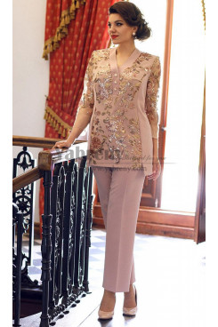 Women's outfit Glamorous Mother of the bride Tousers set  With Delicate Sequins mps-491
