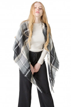 Women's Triangular Scarf Shawl Classic Black and White Plaid Free shipping