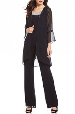 Black Chiffon 3 pieces Women Trousers set Mothers pants suits mps-134