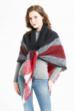 Women's Fashion Shawl Soft Fall Winter Scarf Black Gray and Red