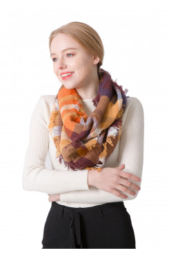Women's Scarf Pretty Plaid Infinity Scarves Spring Fall Winter