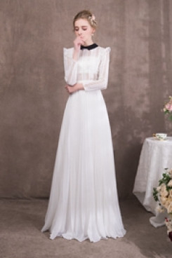 Classic princess Lace Prom dresses with Long Sleeves so-055