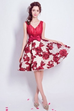 Yabreny 2021  A-line Homecoming dress Burgundy Handmade Flower Prom Dresses TSJY-003