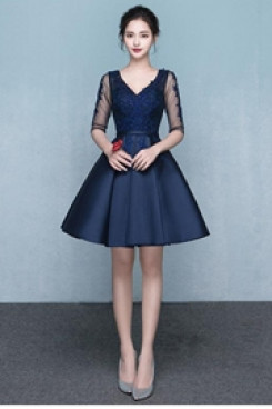 Yabreny 2021 Elegant Dark Navy V-neck under $100 Homecoming Dresses cyh-036