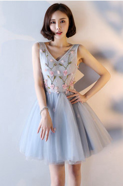 Yabreny 2020 Knee-Length prom dresses Embroidery Sky Blue Homecoming Dresses cyh-044