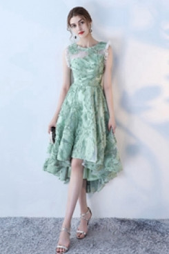 Yabreny 2021 New Style Elegant High-low Sage Homecoming Dresses cyh-032