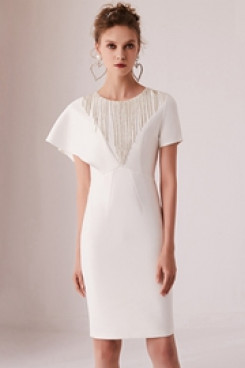 Yabreny 2020 New Style Hand Beading White Homecoming Dresses cyh-031
