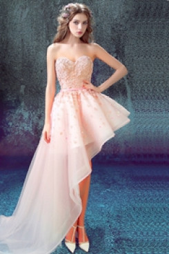 Yabreny 2021 New Style pink Homecoming dresses Asymmetry Prom Dresses TSJY-006