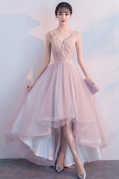 Yabreny 2021 Pearl Pink prom dress High-low V-neck Homecoming Dresses cyh-040