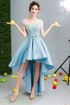 Yabreny 2021 Sky Blue Asymmetry Homecoming dresses High-low Prom Dresses TSJY-002