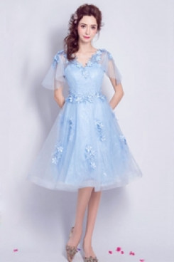 Yabreny 2020 Sky Blue Knee-Length prom dresses under $100 Homecoming Dresses cyh-042