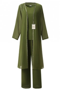 Yabreny 3PC Green Mother of the bride pants suits with long Coat mps-267