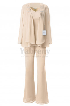 Yabreny 3PC Mother of the Bride Chiffon Trousers set champagne MT001703-2