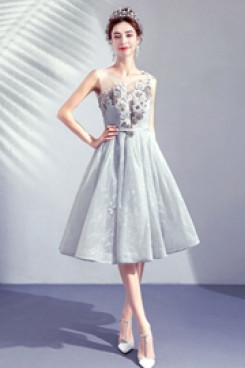 Yabreny 2020 Gray Homecoming dresses A-line Knee-Length Prom Dresses TSJY-008