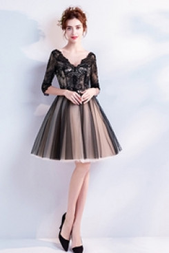 Yabreny Above Knee Homecoming Dresses A-line V-neck black lace prom Dresses TSJY-035