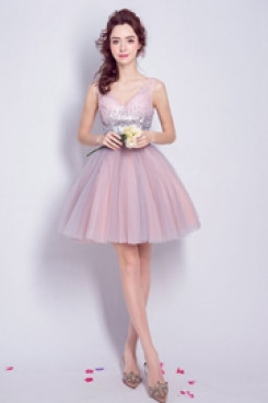Yabreny Above Knee V-neck prom Dresses lovely pink Homecoming Dresses TSJY-032