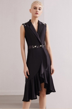Yabreny Black New Style Knee-Length Front Short Long Back short Dresses cyh-028