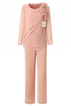 Yabreny chiffon Pink Mother of bride Pant suits mps-264