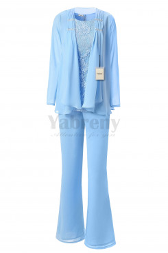 Yabreny Elegant Mother of the Bride Pants suit Sky blue Lace Outfit for Wedding Party MT001704-1