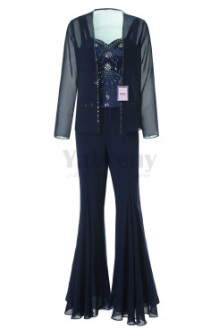 Yabreny Exquisite Hand-beading Chiffon Mother of the Bride Pantsuits Dark Navy MT001705-2