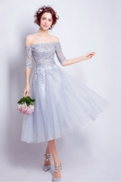 Yabreny lovely Light Blue Homecoming Dresses Mid-Calf Off the Shoulder prom Dresses TSJY-028