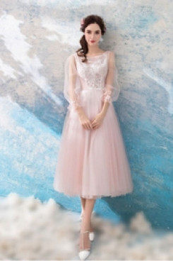 Yabreny Mid-Calf pink Prom Dresses Long Sleeves under $100 Homecoming dresses TSJY-014
