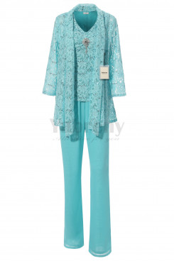 Yabreny NEW ARRIVAL Mother of the Bride Lace Pantsuit for wedding party Aqua Plus size MT001706