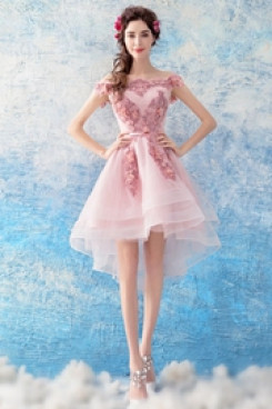 Yabreny pink Front Short Long Back lovely Appliques Homecoming dress Off the Shoulder prom Dresses TSJY-025