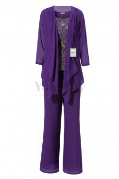 Yabreny Purple Chiffon 3PC Outfit Mother of  Bride Trousers Set Sequins Vest MT001708