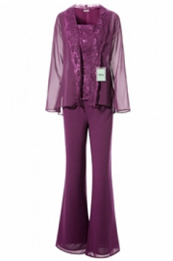 Yabreny Purple Mother of bride Trousers set with jacket Elegant Lace pant suits mps-269