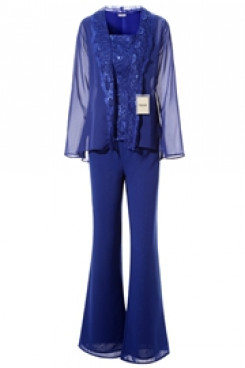 Yabreny Royal Blue Mother of bride Trousers set with jacket Elegant  Lace pants outfits mps-270