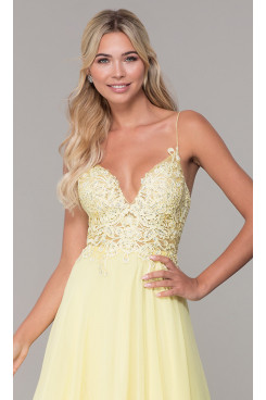 Yellow Chiffon Embroidered Short Prom Dress, Embroidered Homecoming Dresses, Vestidos De Fiesta sd-053-3