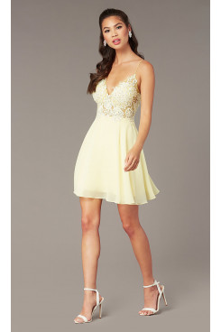 Yellow Lace Applique Bodice Homecoming Party Dress,Daffodil V-Neck Above Knee Party Dresses sd-030-1