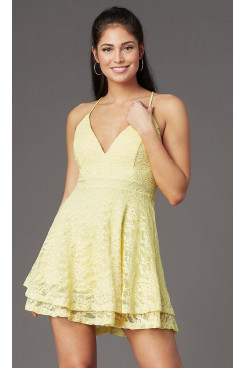 Yellow Lace Graduation Party Dress, Daffodil V-Neck Sexy Homecoming Dresses sd-029