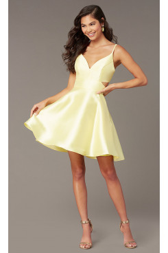 Yellow V-Neck Homecoming Dress,A-line Above Knee Short Prom Dresses sd-043-3