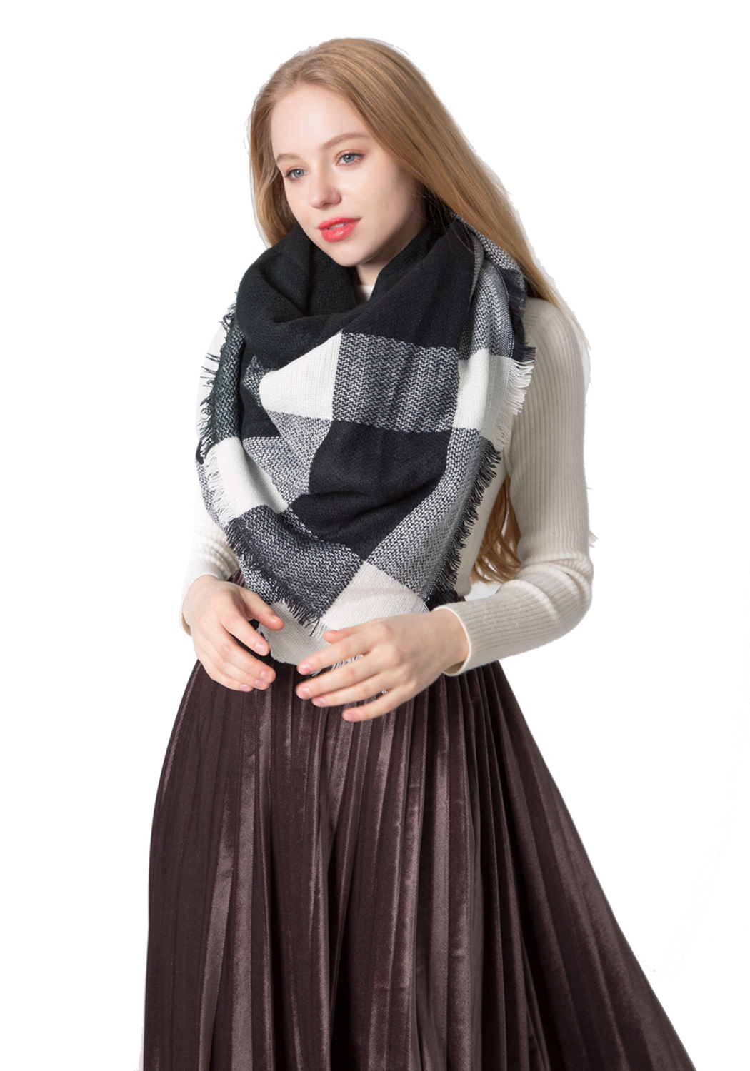 Fall Winter Scarves Womens shawl Black and White Plaid Scarf