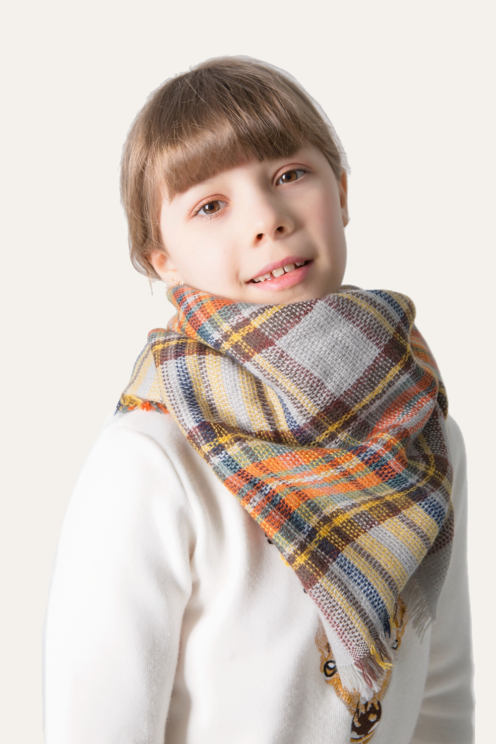 Scarves Classic Plaid Scarf Childrens Fall Winter Shawl