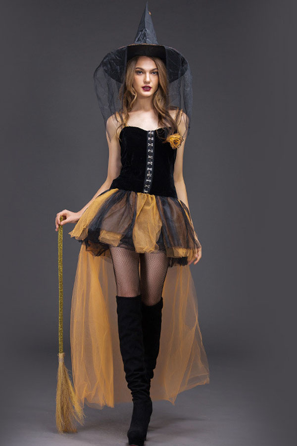 Halloween Horror Witch Role Play Dress Adult Woman Yellow