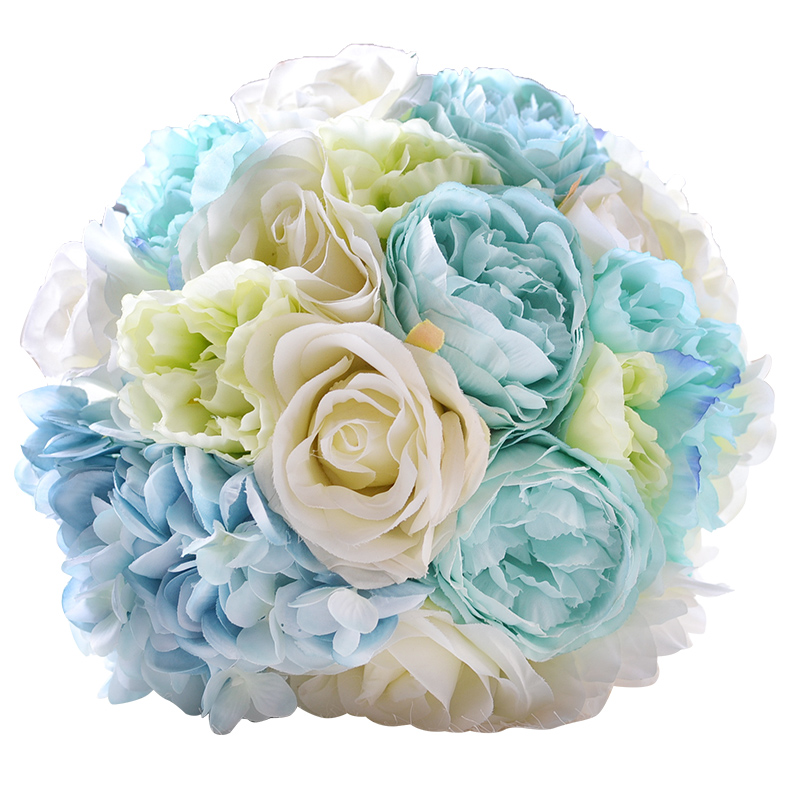 Beach Wedding Flowers: Sky Blue And Withe Artificial Flowers Rose For Beach Wedding