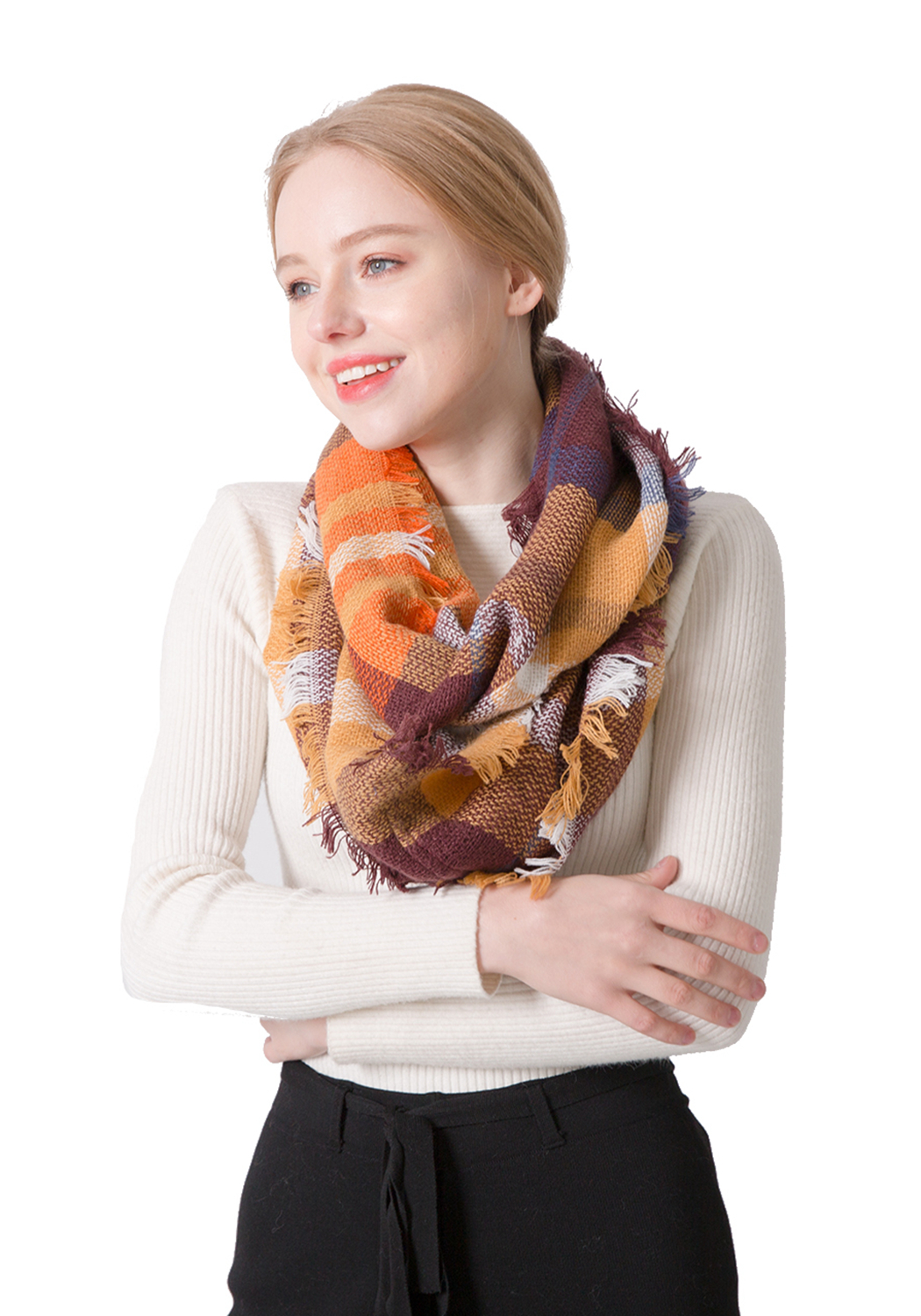 Womens Scarf Pretty Plaid Infinity Scarves Spring Fall Winter